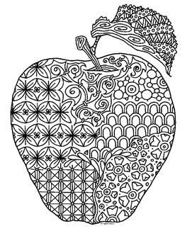 apple zentangle coloring page  pamela kennedy tpt
