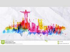 Silhouette Overlay City Rio De Janeiro Stock Vector