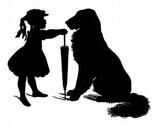 Free Vector Download - Silhouette - Girl with Dog - The ...