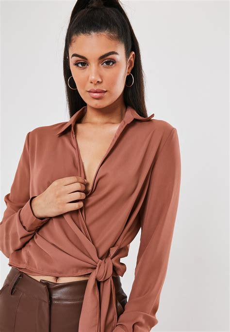 Rose Wrap Over Tie Side Blouse | Missguided
