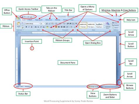 Microsoft 2010 Word Labeled Diagram by Word Window By Sfr