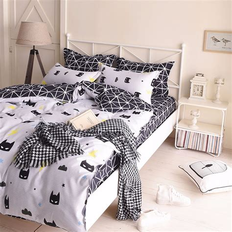 black batman quilt doona duvet cover set queen size bed