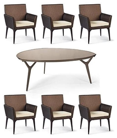 tribeca 7 pc triangular dining set frontgate patio