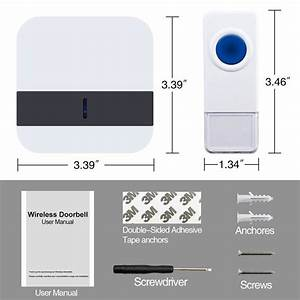 Portable Wireless Doorbell Chime Kit Operating Up 1000 Ft
