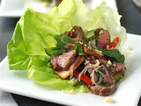 thai style spicy grilled beef salad  potato crisps