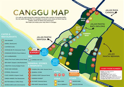 canggu map focussing   area  batu bolong beach