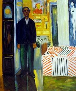 edvard munch self portrait between clock and bed art for sale
