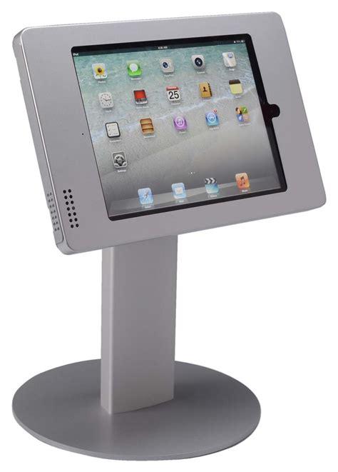 Silver Ipad Counter Stand  Dual Locking Bracket & Round Base