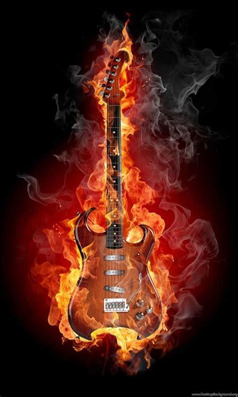 flaming guitar flikie wallpapers desktop background