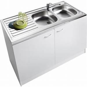 Meuble de cuisine sous évier 2 portes, blanc, h86x l120x p60cm Leroy Merlin