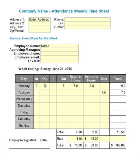 sample excel timesheets sample templates