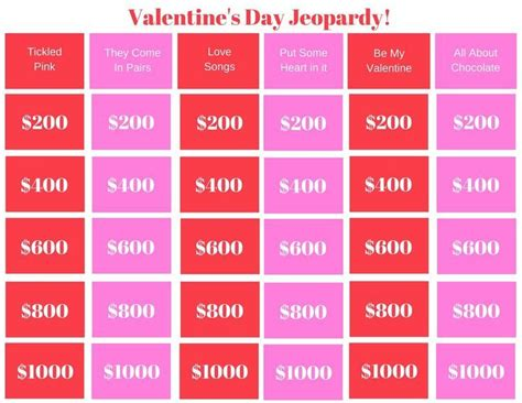valentines day jeopardy printable game classroom game