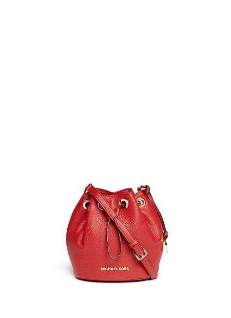 michael kors jules leather crossbody bucket bag  red lyst