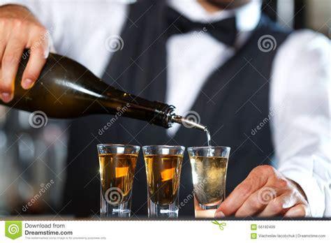 Handsome Bartender Making Shots Stock Photo Image