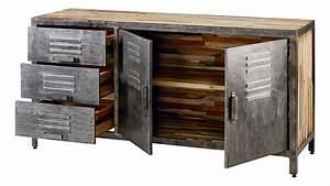 Buffet Bas Industriel : buffet 2 portes 3 tiroirs besi ~ Teatrodelosmanantiales.com Idées de Décoration