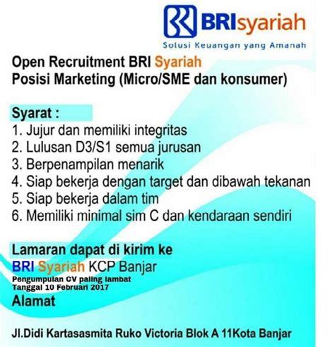 rekrutmen lowongan bank bri syariah februari