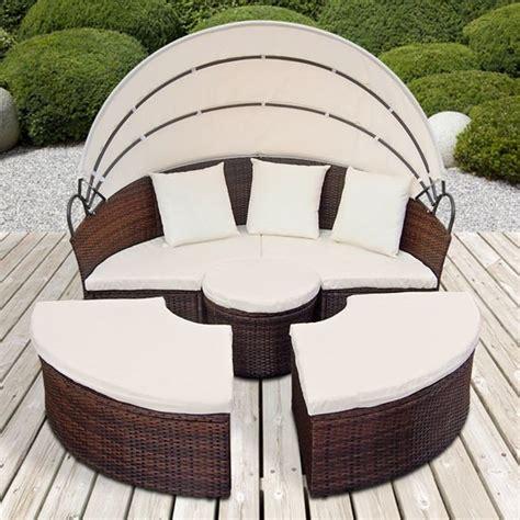 canape de jardin rond modulable marron en r 233 sine tress 233 e