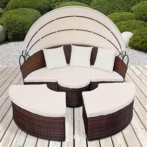 Canape De Jardin Resine : canape de jardin rond modulable marron en r sine tress e ~ Teatrodelosmanantiales.com Idées de Décoration