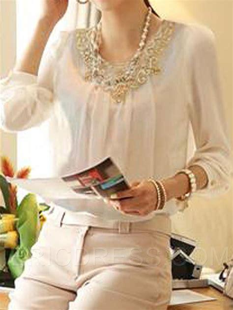 cuello de encaje elegante de manga larga blusa de gasa