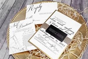 black white gold wedding invitation set classic With black and white handmade wedding invitations