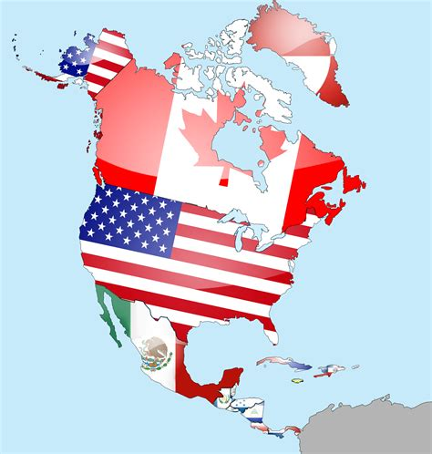 North America Flag Map (With images)   North america flag ...