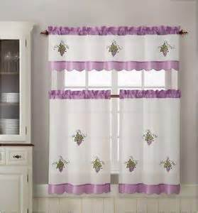 Purple Grape Kitchen Curtains by Flowers 3 Piece Fabric Embroidery Kitchen Curtain Set