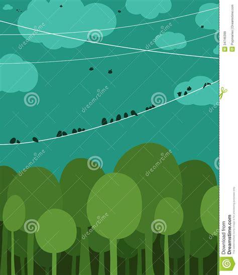 forest  birds sitting  wires graphic design stock