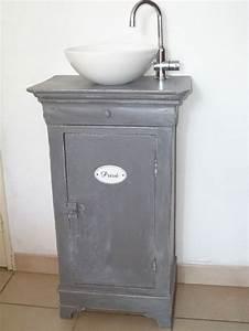 realiser un meuble lave main a partir d39un chevet With meuble lave main