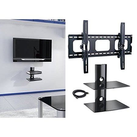 tv wall mount with shelf walmart 2xhome new tv wall mount bracket with hdmi cable two