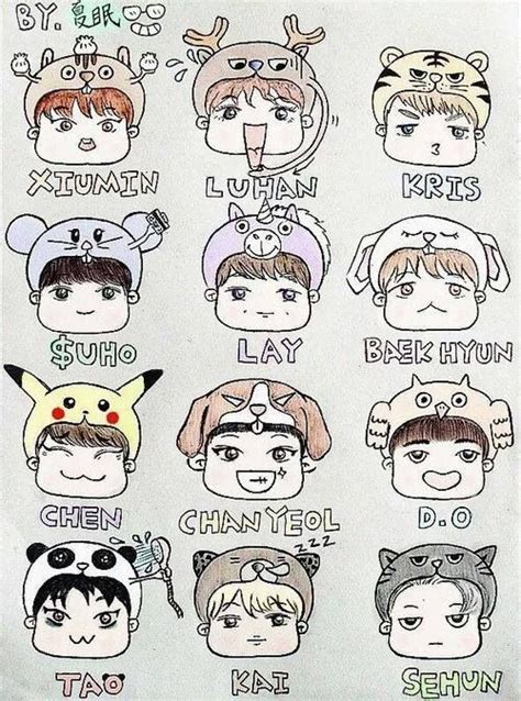 exo fanart cartoon drawing drawing pinterest exo