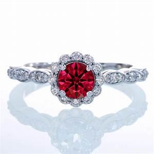 15 carat round cut ruby and diamond flower vintage With diamond flower wedding ring