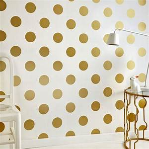 Graham brown white and gold dotty removable wallpaper for Kitchen colors with white cabinets with polka dot wall art