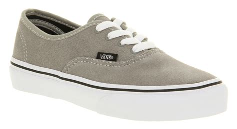Kids Vans Authentic Light Grey Suede Casual Lace Up Skate