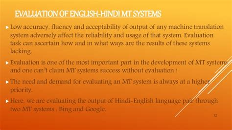 Evaluation Of Hindi English Mt Systems, Challenges And