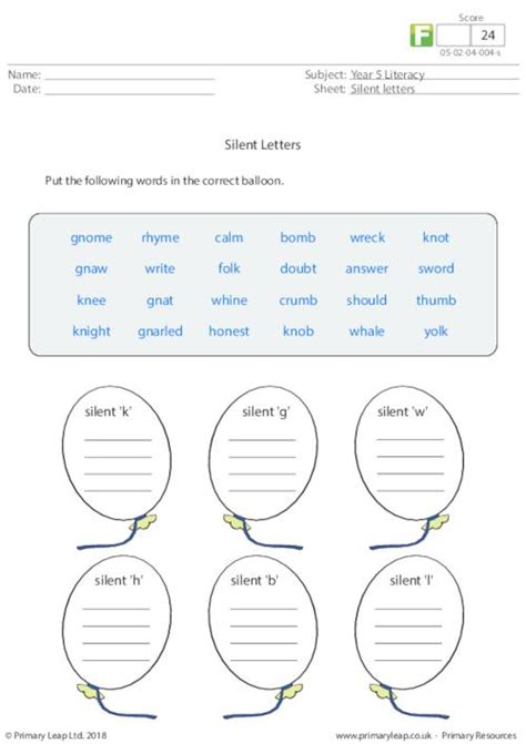 Silent Letters 1 Primaryleapcouk