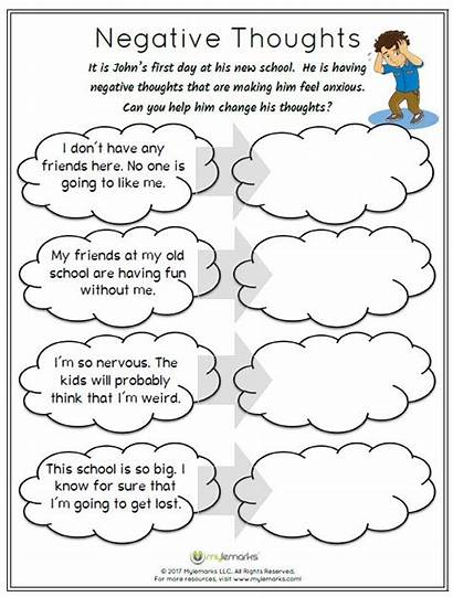 Thoughts Worksheet Changing Social Worksheets Therapy Anxiety