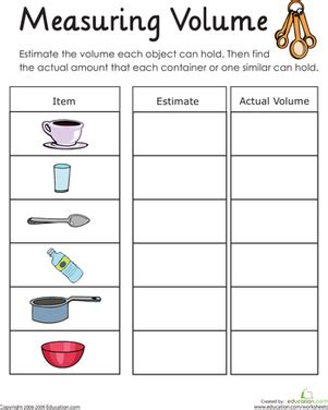 measuring volume how much liquid can it hold worksheet education