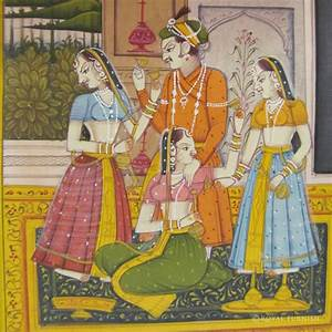 Rajasthan Miniature Painting - Mughal King Love Scene Life