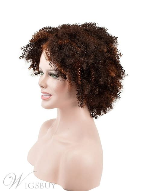 top quality short kinky curly capless synthetic hair wig