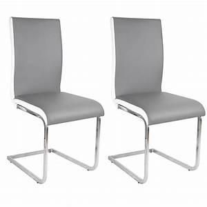 Chaise Blanche Et Grise : lot de 2 chaises grise et blanche en simili cuir le ~ Teatrodelosmanantiales.com Idées de Décoration