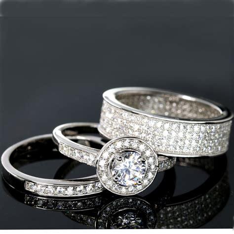 wedding rings 3 halo engagement bridal cz 925