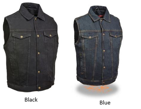 Mens Denim Black Or Blue Color Snap Front Motorcycle Vest
