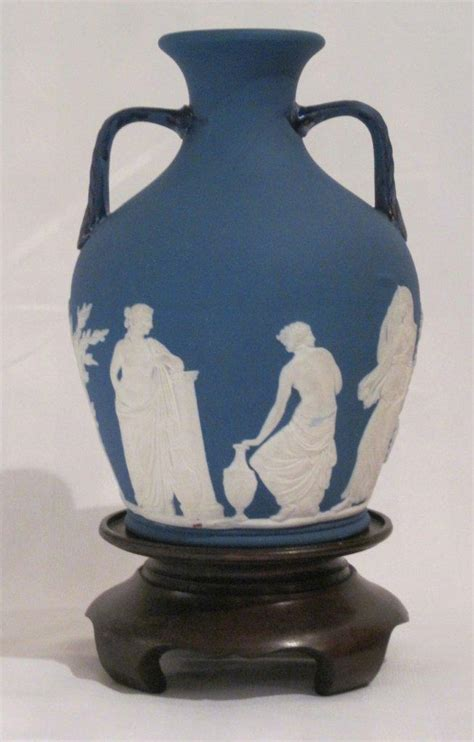 Large Early Wedgwood Blue Portland Vase & Stand For Sale