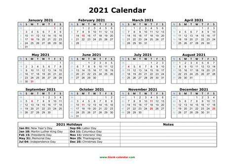 Free Download Printable Calendar 2021 with US Federal ...