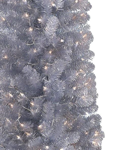silver and christmas tree shimmering silver artificial pencil christmas tree treetopia 6312