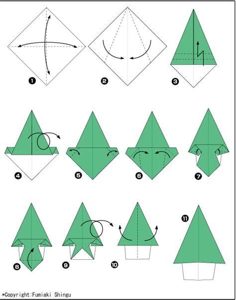 origami christmas tree diagram and video download