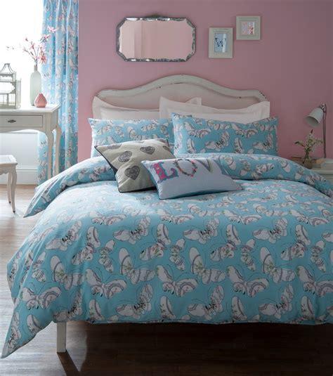 light blue duvet cover light pastel blue and white butterfly pattern single