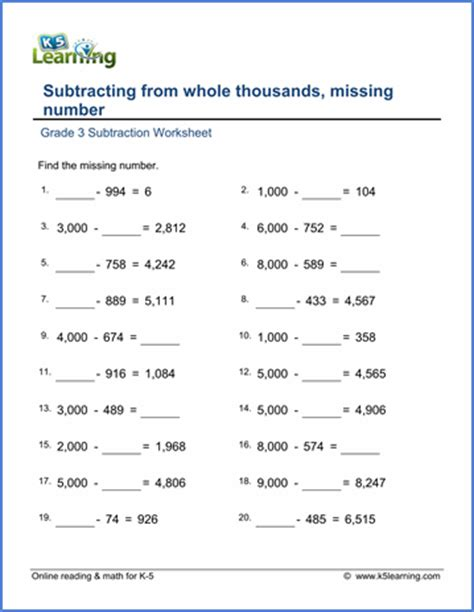 grade 3 math worksheet subtract from whole thousands