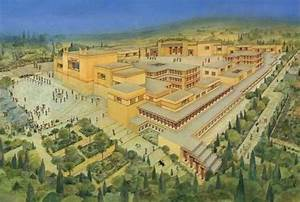 Artist's reconstitution of Knossos palace complex, Minoan ...