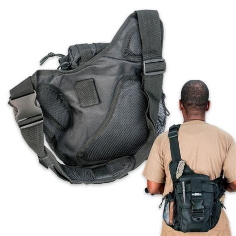 ops tactical waist sling bag messenger black kennesaw cutlery